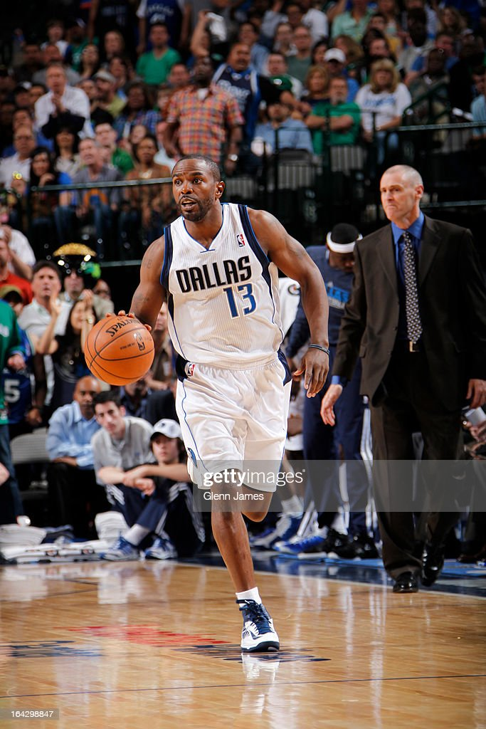 Mike James #13 of the Dallas Mavericks brings the ball up court against the Oklahoma City Thunder on March 17, 2013 at the American Airlines Center in Dallas, Texas.