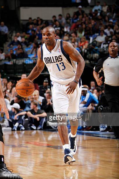 Mike James of the Dallas Mavericks brings the ball up court against the New Orleans Hornets on April 17 2013 at the American Airlines Center in...