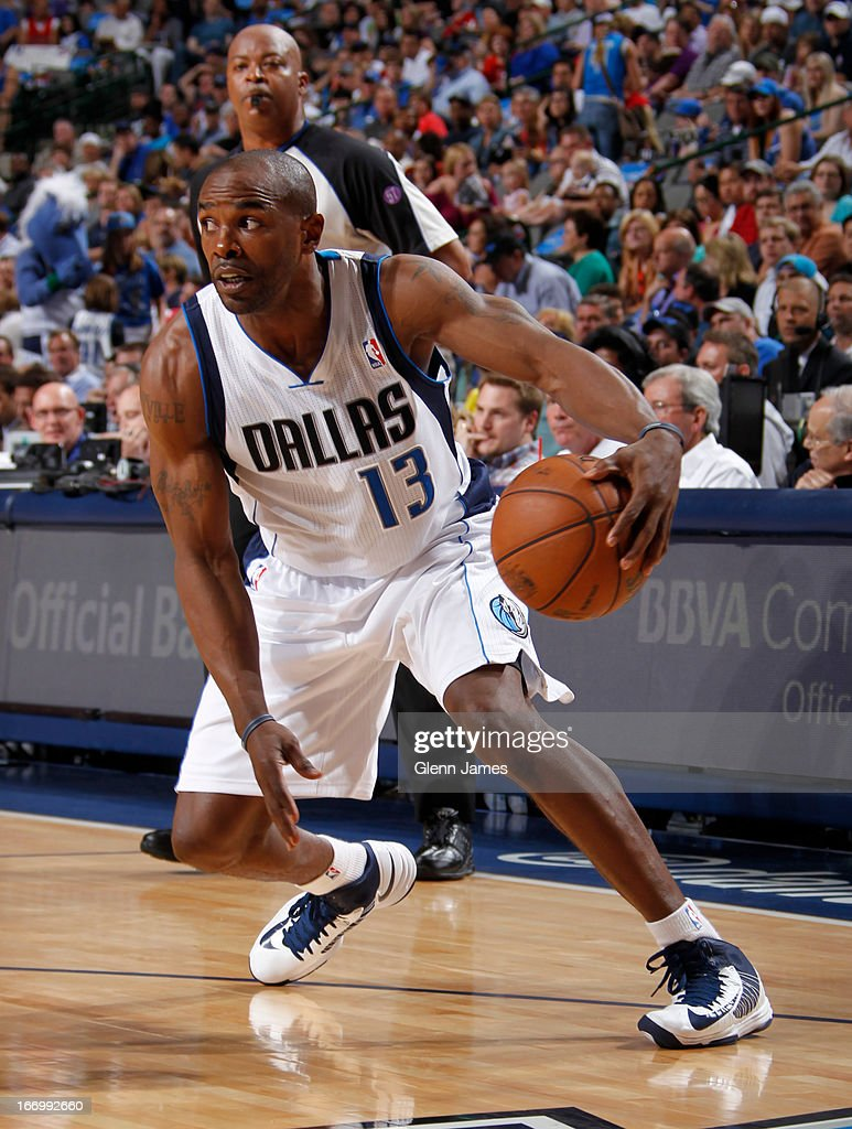Mike James #13 of the Dallas Mavericks drives to the basket against the New Orleans Hornets on April 17, 2013 at the American Airlines Center in Dallas, Texas.