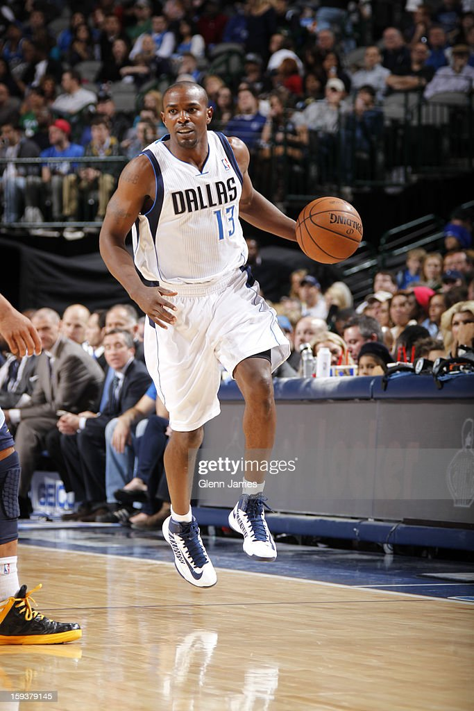 Mike James #13 of the Dallas Mavericks handles the ball against the Memphis Grizzlies on January 12, 2013 at the American Airlines Center in Dallas, Texas.