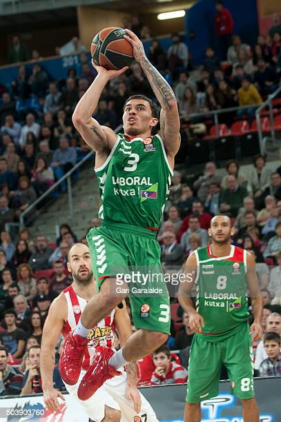 Mike James of the Laboral Basconia shoots against the Olympiacos Piraeus at Buesa Arena on January 7 2016 in VitoriaGasteiz Spain