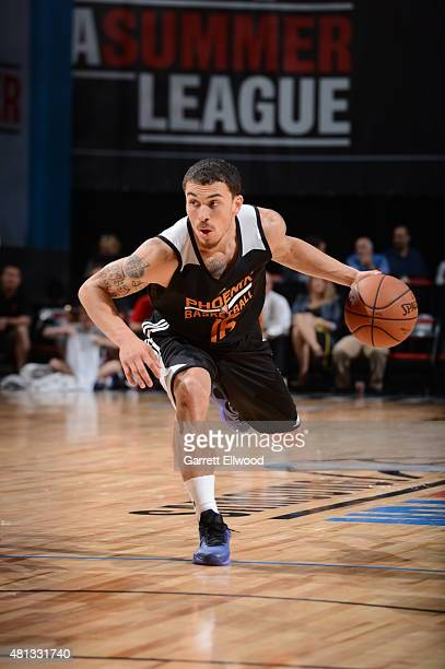 Mike James of the Phoenix Suns drives to the basket against the New Orleans Pelicans on July 19 2015 at the Thomas Mack Center in Las Vegas Nevada...