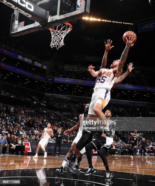 Mike James of the Phoenix Suns goes to the basket against the Brooklyn Nets on October 31 2017 at Barclays Center in Brooklyn New York NOTE TO USER...
