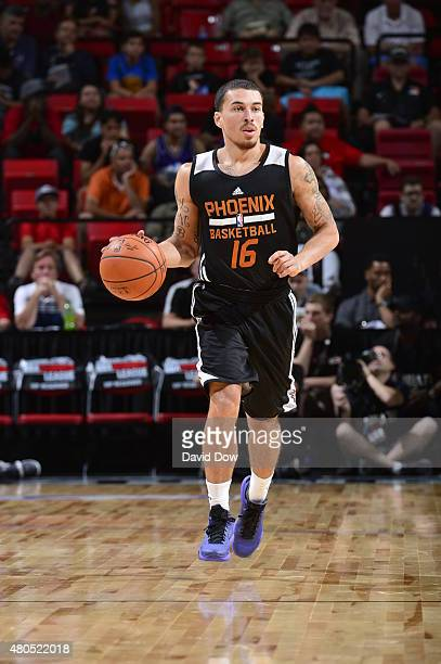 Mike James of the Phoenix Suns handles the ball against the Houston Rockets during the 2015 NBA Las Vegas Summer League game on July 12 2015 at the...