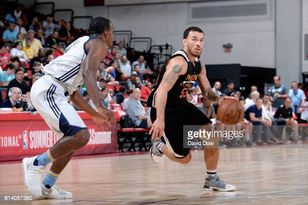 Mike James of the Phoenix Suns handles the ball during the game against the Memphis Grizzlies during the 2017 Las Vegas Summer League game on July 13...