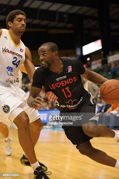 Mike James of the Texas Legends drives the basketball against the Santa Cruz Warriors on November 21 2014 at Dr Pepper Arena in Frisco Texas NOTE TO...