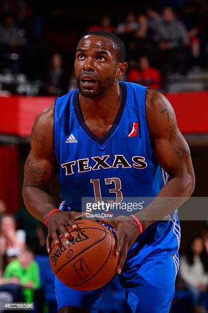 Mike James of the Texas Legends shoots a foul shot against the Westchester Knicks at the Westchester County Center on January 24 2015 in Westchester...