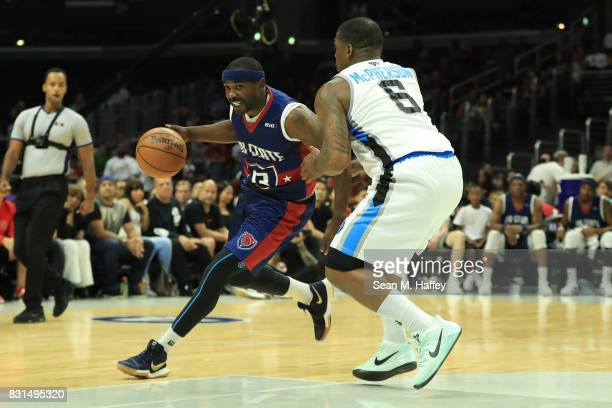 Mike James of the TriState drives with the ball against Paul McPherson of the Power during week eight of the BIG3 three on three basketball league at...