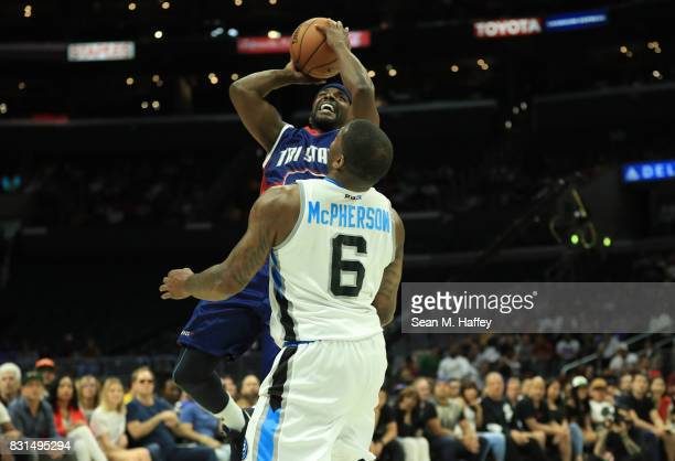 Mike James of the TriState takes a shot against Paul McPherson of the Power during week eight of the BIG3 three on three basketball league at Staples...