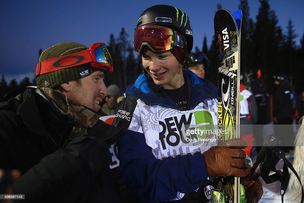 Mike Jankowski, U.S. Snowboarding and U.S. Freeskiing Head Freestyle Coach talks with David Wise after his first run as Wise went on to win the men's ski superpipe final at the Dew Tour iON Mountain Championships on December 14, 2013 in Breckenridge, Colorado.
