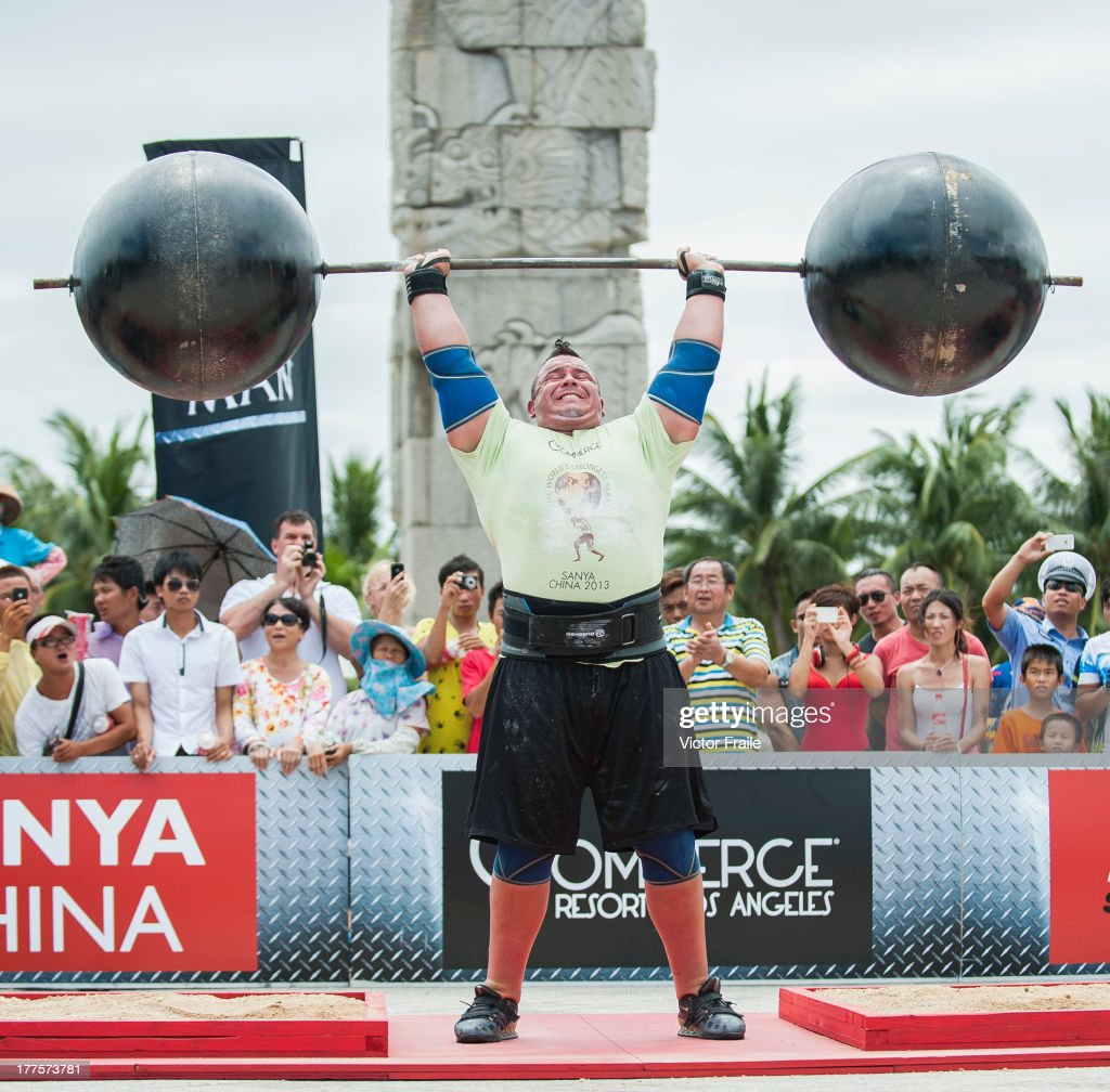Mike Jenkins of USA competes at the Circus Medley event during the World's Strongest Man competition at Yalong Bay Cultural Square on August 24, 2013 in Hainan Island, China.