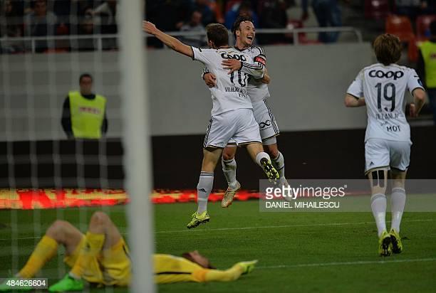 Mike Jensen of Rosenborg BK celebrates after he scored 30 during the UEFA Europa League playoff football match between Steaua Bucarest and Rosenborg...
