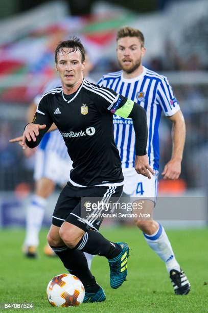Mike Jensen of Rosenborg BK duels for the ball with Asier Illarramendi of Real Sociedad during the UEFA Europa League group L match between Real...