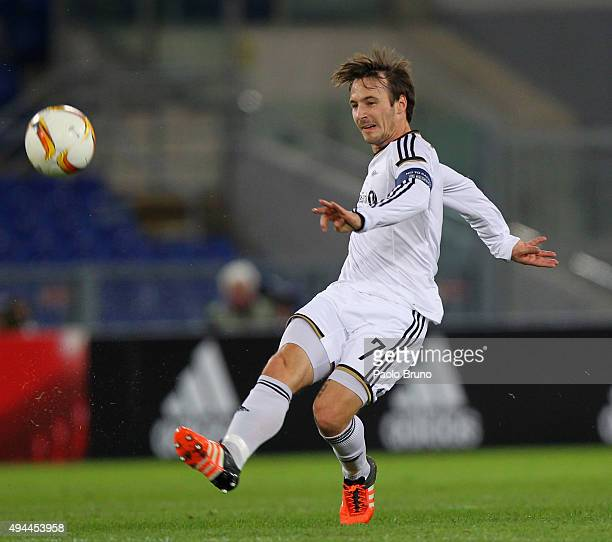 Mike Jensen of Rosenborg BK in action during the UEFA Europa League group G match between SS Lazio and Rosenborg BK at Stadio Olimpico on October 22...