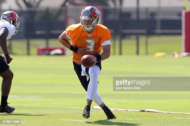 Mike Kafka looks to hand the ball off during the Buccaneers OTA at One Buccaneer Place in Tampa Florida