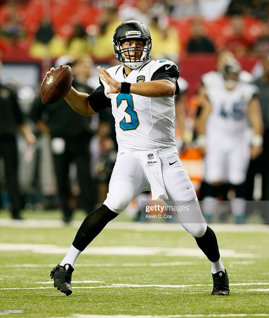 <a gi-track='captionPersonalityLinkClicked' href=/galleries/search?phrase=Mike+Kafka&family=editorial&specificpeople=4018291 ng-click='$event.stopPropagation()'>Mike Kafka</a> #3 of the Jacksonville Jaguars looks to pass against the Atlanta Falcons at Georgia Dome on August 29, 2013 in Atlanta, Georgia.