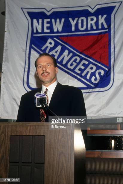 Mike Keenan speaks during a press conference after he was introduced as the new head coach of the New York Rangers circa 1993 in New York New York