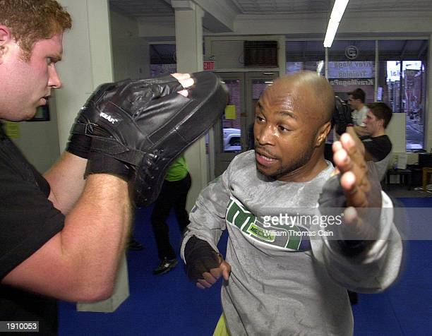 Mike Kenny defends against Devon Mayo in a Krav Maga class April 9 2003 in Philadelphia Pennsylvania With the US at high terror alert there has been...