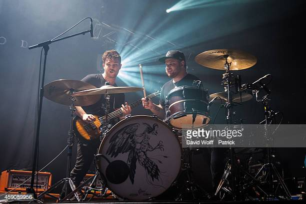 Mike Kerr and Ben Thatcher from Royal Blood perform at La Cigale on November 16 2014 in Paris France