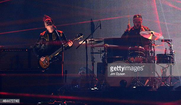 Mike Kerr and Ben Thatcher of Royal Blood perform live on stage at the BRIT Awards 2015 at The O2 Arena on February 25 2015 in London England