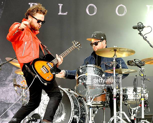 Mike Kerr and Ben Thatcher of Royal Blood perform on day 3 of The Leeds Festival at Bramham Park on August 30 2015 in Leeds England