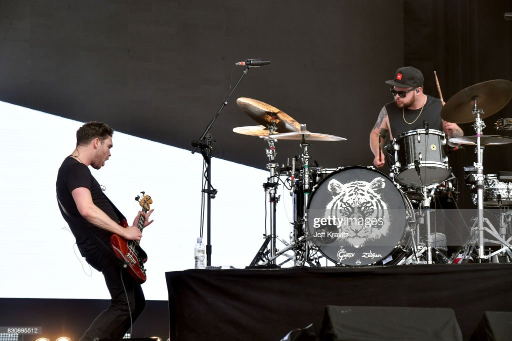Mike Kerr (L) and Ben Thatcher of Royal Blood perform on Lands End stage during the 2017 Outside Lands Music And Arts Festival at Golden Gate Park on August 12, 2017 in San Francisco, California.