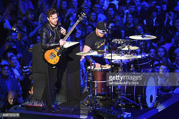 Mike Kerr and Ben Thatcher of Royal Blood perform on stage during the MTV EMA's 2014 at The Hydro on November 9 2014 in Glasgow Scotland