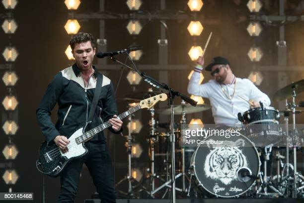 Mike Kerr and Ben Thatcher of Royal Blood perform on the Pyramid Stage at the Glastonbury Festival of Music and Performing Arts on Worthy Farm near...