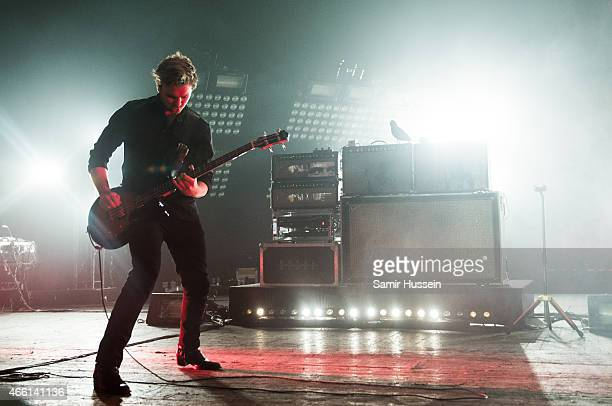 Mike Kerr of Royal Blood performs on stage at Brixton Academy on March 13 2015 in London United Kingdom