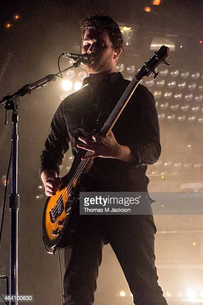 Mike Kerr of Royal Blood performs on stage at The Sage Gateshead for BBC 6 Music Festival 2015 on February 21 2015 in Newcastle upon Tyne United...