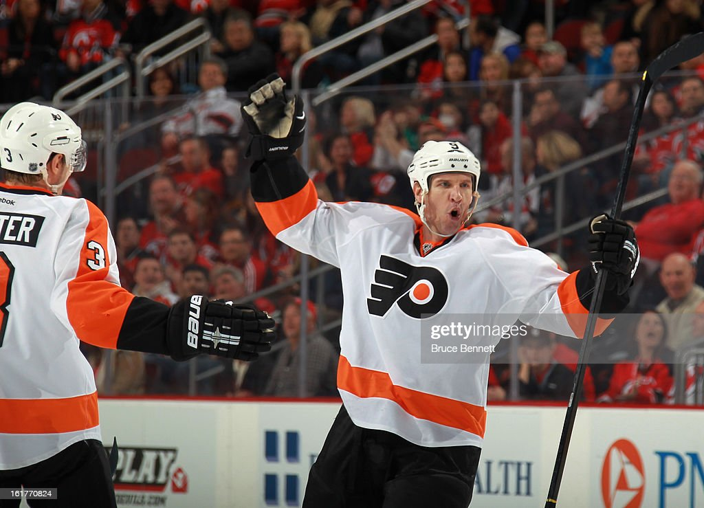 <a gi-track='captionPersonalityLinkClicked' href=/galleries/search?phrase=Mike+Knuble&family=editorial&specificpeople=202077 ng-click='$event.stopPropagation()'>Mike Knuble</a> #9 of the Philadelphia Flyers celebrates his goal at 11:15 of the first period against the New Jersey Devils at the Prudential Center on February 15, 2013 in Newark, New Jersey.