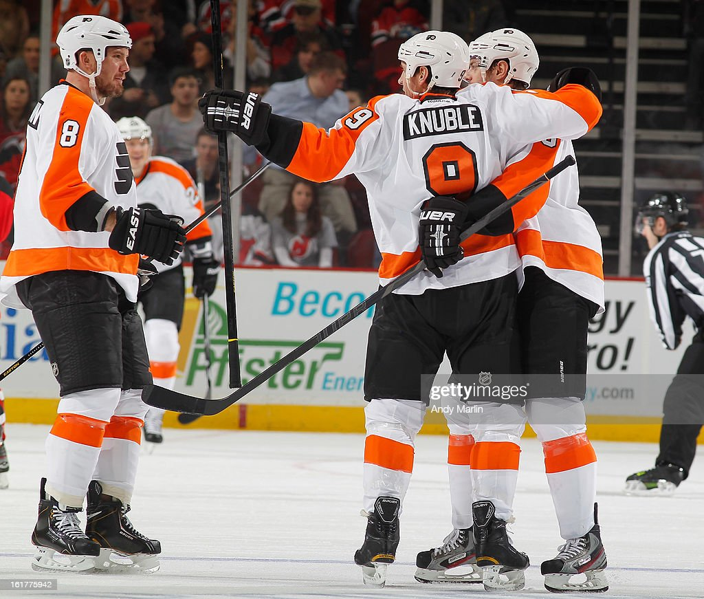 <a gi-track='captionPersonalityLinkClicked' href=/galleries/search?phrase=Mike+Knuble&family=editorial&specificpeople=202077 ng-click='$event.stopPropagation()'>Mike Knuble</a> #9 of the Philadelphia Flyers celebrates his goal with his teammates against the New Jersey Devils during the game at the Prudential Center on February 15, 2013 in Newark, New Jersey.