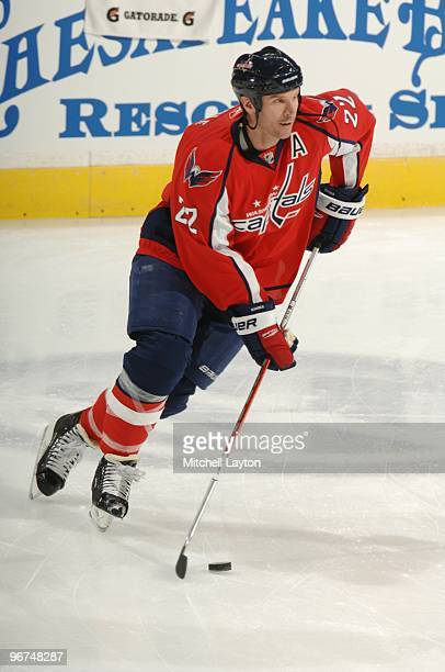 Mike Knuble of the Washington Capitals skates with the puck during a NHL hockey game against the Tampa Bay Lightning on January 31 2010 at the...