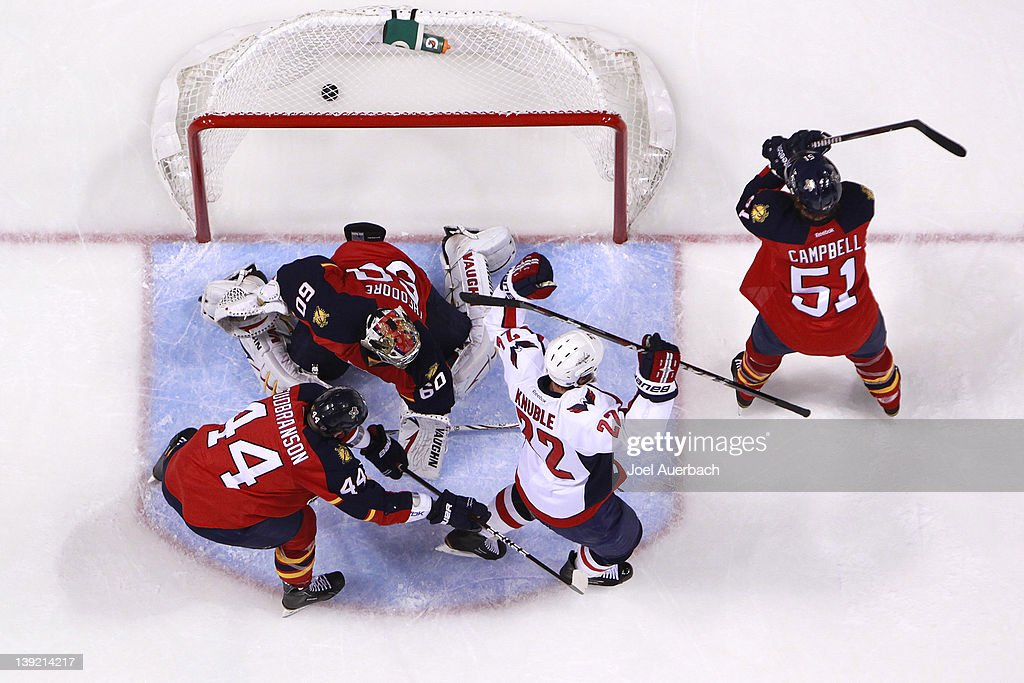 Mike Knuble #22 of the Washington Capitals starts to celebrate after the puck goes past goaltender Jose Theodore #60 of the Florida Panthers on February 17, 2012 at the BankAtlantic Center in Sunrise, Florida. The goal was disallowed. The Capitals defeated the Panthers 2-1.