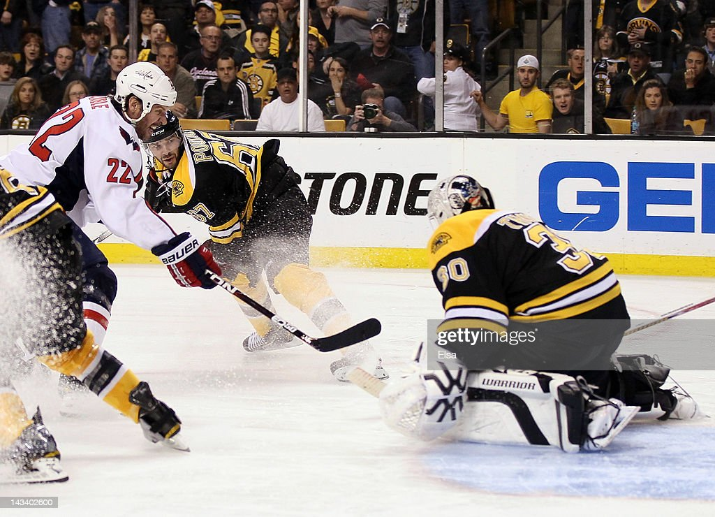 Mike Knuble #22 of the Washington Capitals takes a shot as Tim Thomas #30 of the Boston Bruins defends in overtime of Game Seven of the Eastern Conference Quarterfinals during the 2012 NHL Stanley Cup Playoffs at TD Garden on April 25, 2012 in Boston, Massachusetts. The Washington Capitals defeated the Boston Bruins 2-1 in overtime. Joel Ward of the Washington Capitals scored off a rebound shot by Knuble.