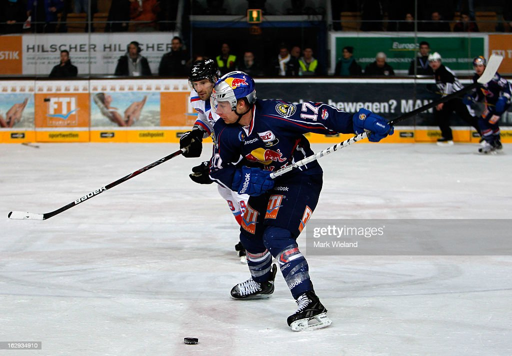 Mike Kompon of EHC Red Bull Muenchen in action during the DEL match between EHC Red Bull Muenchen and Thomas Sabo Ice Tigers at Olympia Eishalle on March 1, 2013 in Munich, Germany.