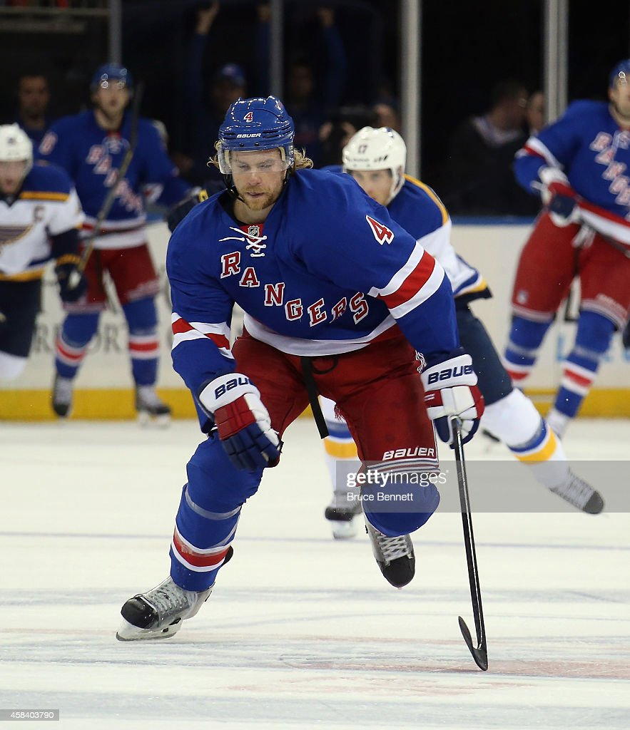 <a gi-track='captionPersonalityLinkClicked' href=/galleries/search?phrase=Mike+Kostka&family=editorial&specificpeople=2193393 ng-click='$event.stopPropagation()'>Mike Kostka</a> #4 of the New York Rangers skates against the St. Louis Blues at Madison Square Garden on November 3, 2014 in New York City. The Blues defeated the Rangers 4-3 in the shootout.