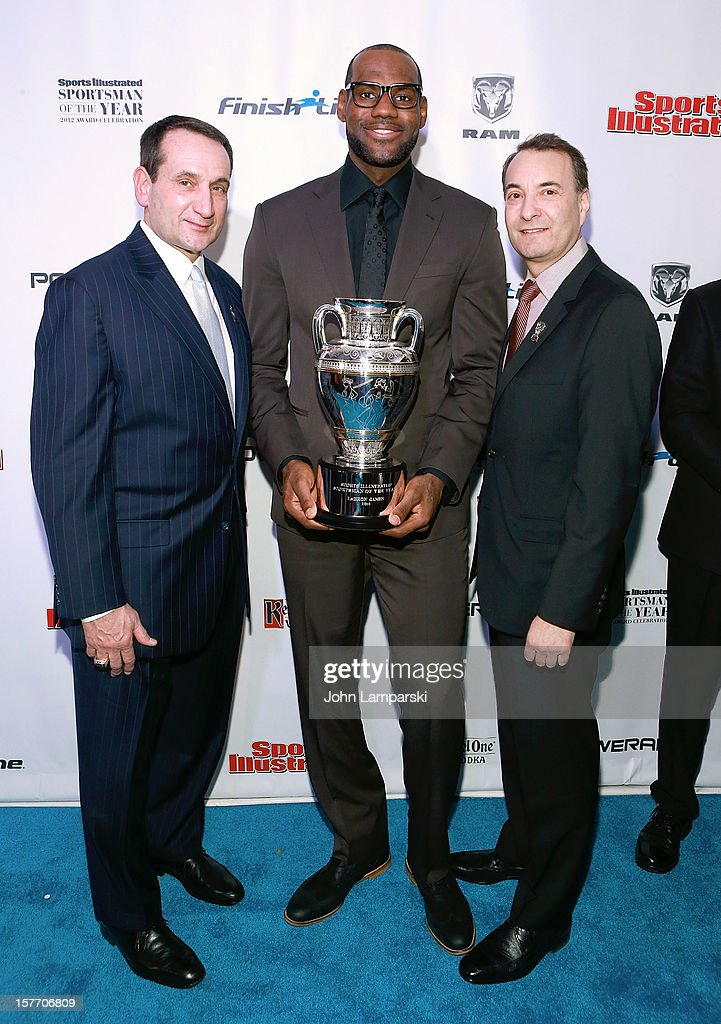 Mike Krzyzewski, 2012 Sports Illustrated Sportsman of the year LeBron James and Time Inc. Sports Group Editor Paul Fichtenbaum attend the 2012 Sports Illustrated Sportsman of the year award presentation at Espace on December 5, 2012 in New York City.