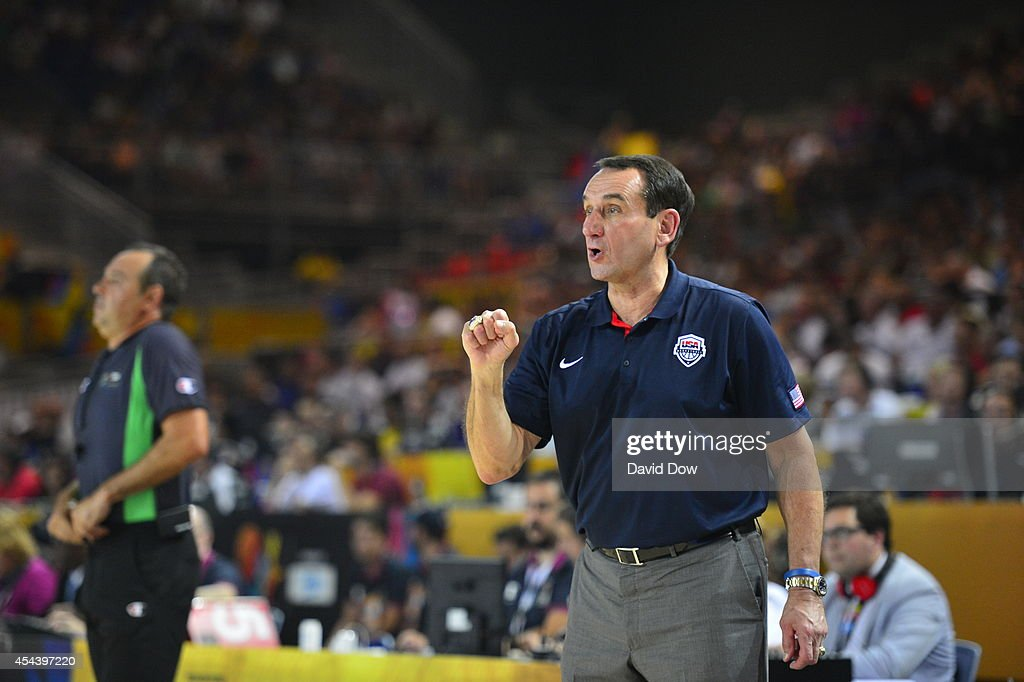 <a gi-track='captionPersonalityLinkClicked' href=/galleries/search?phrase=Mike+Krzyzewski&family=editorial&specificpeople=213322 ng-click='$event.stopPropagation()'>Mike Krzyzewski</a> Head Coach of the USA Basketball Men's National Team coaches his team team against the Finland Nation Basketball Team during the FIBA 2014 World Cup Tournament at the Bilbao Exhibition Center on August 30, 2014 in Bilbao, Spain.