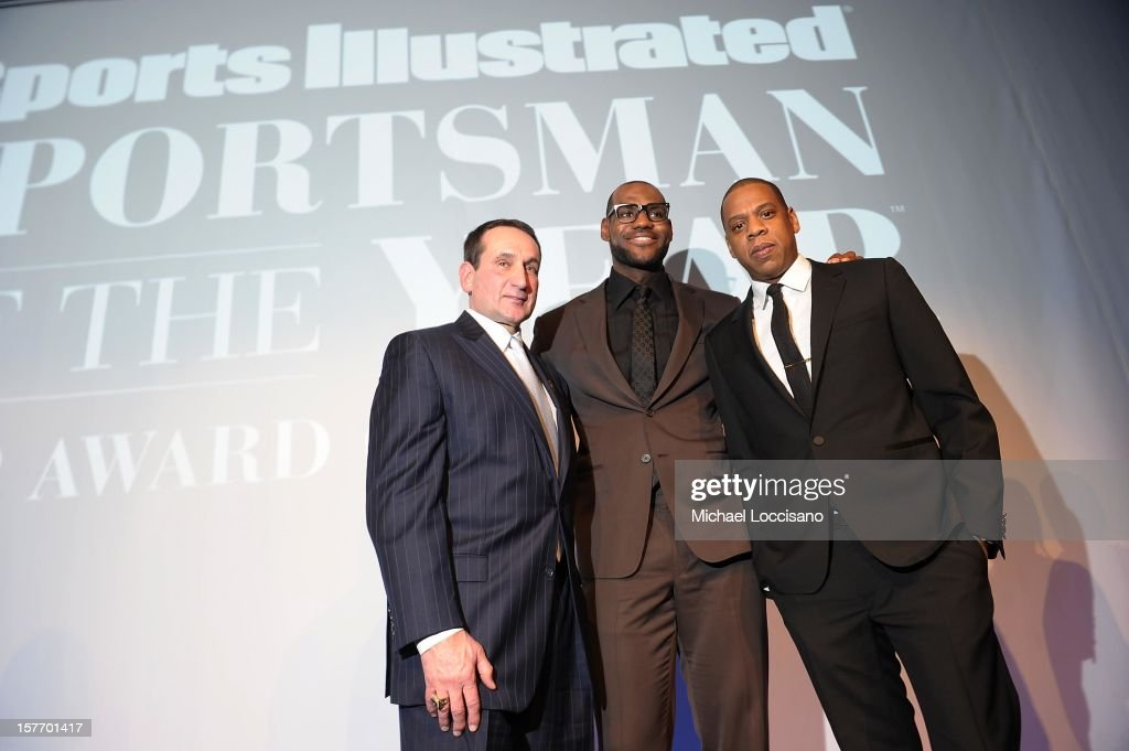 Mike Krzyzewski, Lebron James, and Jay-Z attend the 2012 Sports Illustrated Sportsman of the Year award presentation at Espace on December 5, 2012 in New York City.