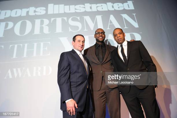 Mike Krzyzewski Lebron James and JayZ attend the 2012 Sports Illustrated Sportsman of the Year award presentation at Espace on December 5 2012 in New...