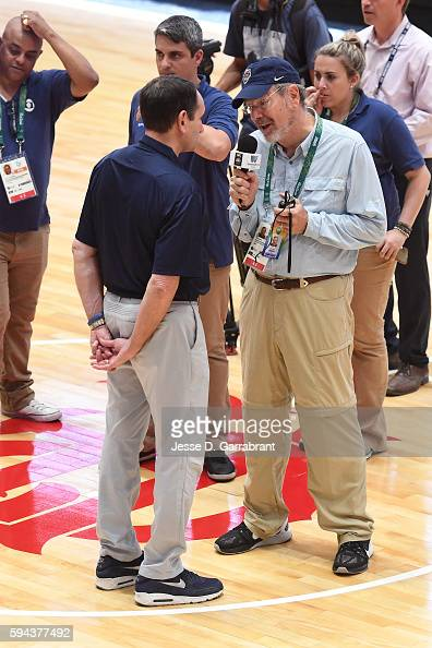 Mike Krzyzewski of the USA Basketball Men's National Team speaks during an interview with PJ Carlesimo at practice during the Rio 2016 Olympic Games...