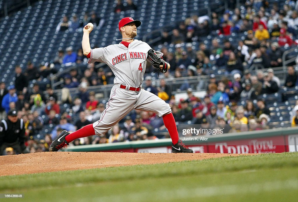<a gi-track='captionPersonalityLinkClicked' href=/galleries/search?phrase=Mike+Leake&family=editorial&specificpeople=5330779 ng-click='$event.stopPropagation()'>Mike Leake</a> #44 of the Cincinnati Reds pitches in the first inning against the Pittsburgh Pirates during the game on April 12, 2013 at PNC Park in Pittsburgh, Pennsylvania.