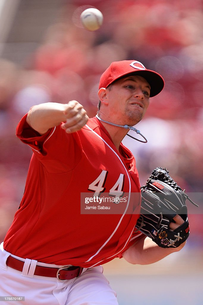 <a gi-track='captionPersonalityLinkClicked' href=/galleries/search?phrase=Mike+Leake&family=editorial&specificpeople=5330779 ng-click='$event.stopPropagation()'>Mike Leake</a> #44 of the Cincinnati Reds pitches in the first inning against the St. Louis Cardinals at Great American Ball Park on August 4, 2013 in Cincinnati, Ohio.