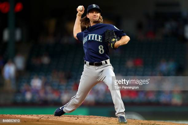 Mike Leake of the Seattle Mariners pitches against the Texas Rangers in the bottom of the first inning at Globe Life Park in Arlington on September...