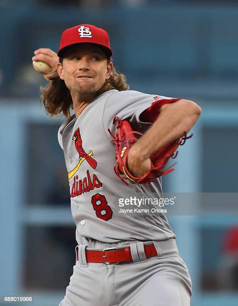 Mike Leake of the St Louis Cardinals in the first inning of the game against the Los Angeles Dodgers at Dodger Stadium on May 24 2017 in Los Angeles...