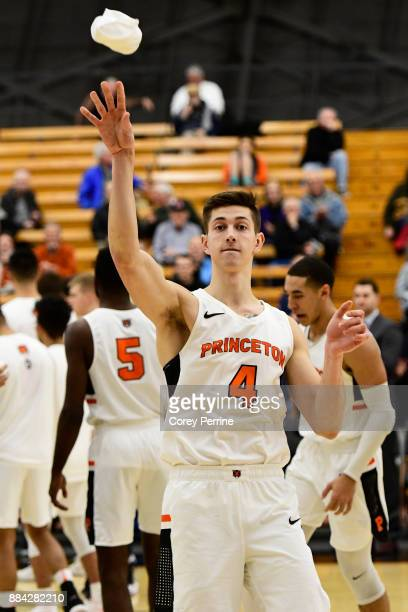 Mike LeBlanc of the Princeton Tigers throws a tshirt to the crowd before the game against the Lehigh Mountain Hawks at L Stockwell Jadwin Gymnasium...