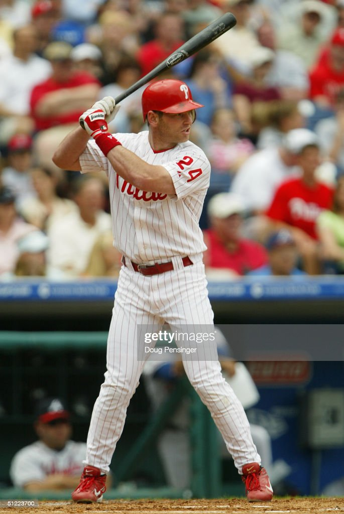 Mike Lieberthal#24 of the Philadelphia Phillies stands at bat during the game against the Atlanta Braves at the Citizens Bank Park on May 30 2004 in...