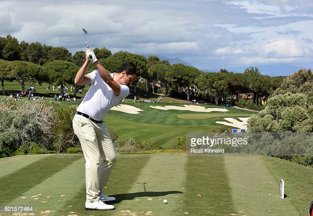 Mike LorenzoVera of France on the par three 15th tee during the third round of the Open de Espana at Valderrama Golf Club on April 16 2016 in...