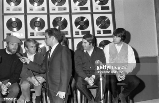 Mike Love Al Jardine Dennis Wilson Carl Wilson Brian Wilson of the rock and roll group 'The Beach Boys' during an interview in November 1965 in Los...